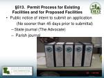 513 permit process for existing facilities and for proposed facilities1