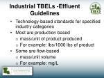 industrial tbels effluent guidelines