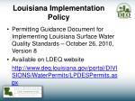 louisiana implementation policy