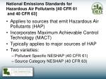 national emissions standards for hazardous air pollutants 40 cfr 61 and 40 cfr 63
