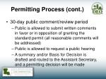 permitting process cont