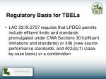 regulatory basis for tbels