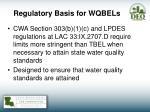 regulatory basis for wqbels
