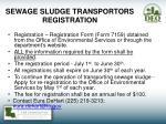 sewage sludge transportors registration