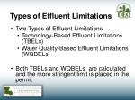 types of effluent limitations