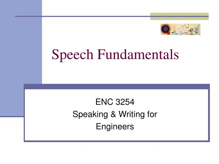 speech fundamentals n.
