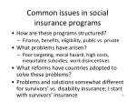 common issues in social insurance programs