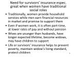 need for survivors insurance espec great when women have traditional social roles