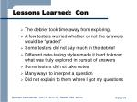 lessons learned con
