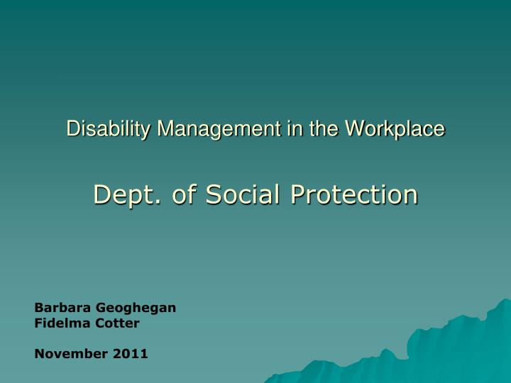 disability management in the workplace n.