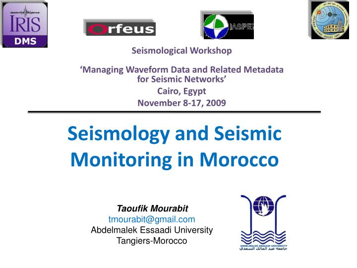 seismology and seismic monitoring in morocco n.