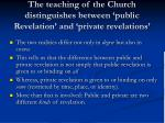 the teaching of the church distinguishes between public revelation and private revelations