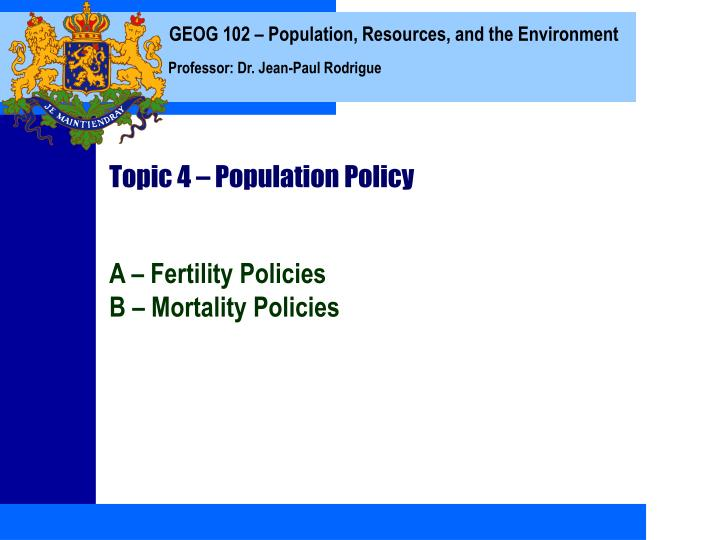 topic 4 population policy n.