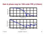 gain phase resp for 10th order fir 3 hann