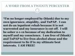 a word from a twenty percenter