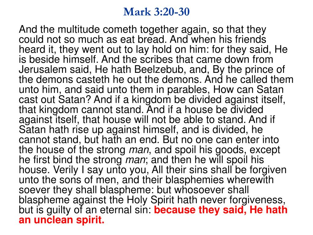 Mark 3:20-30