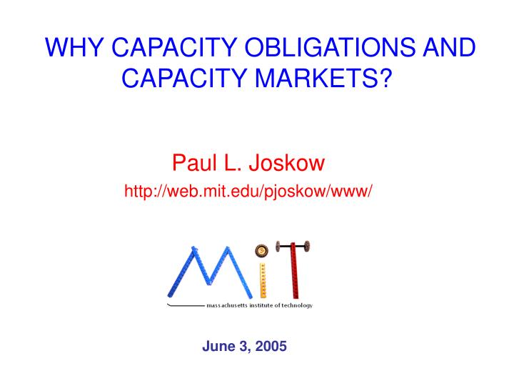 why capacity obligations and capacity markets n.