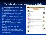 to publish a newsletter on the web