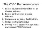 the vdbc recommendations