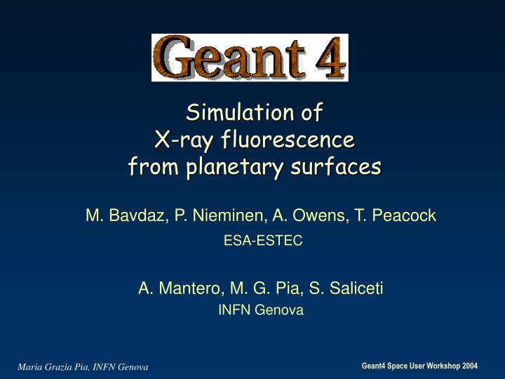 simulation of x ray fluorescence from planetary surfaces n.