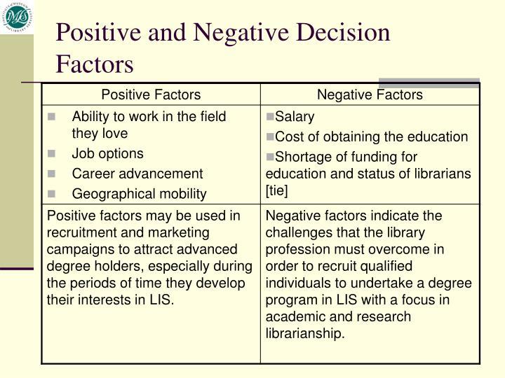Positive and Negative Decision Factors