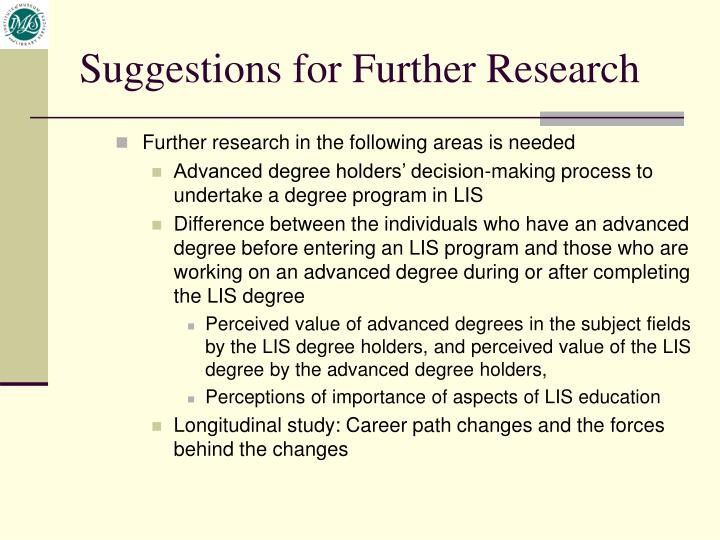 Further research in the following areas is needed