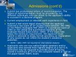 admissions cont d