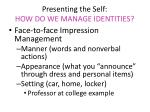 presenting the self how do we manage identities