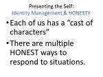 presenting the self identity management honesty1