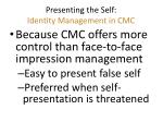 presenting the self identity management in cmc1