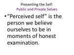 presenting the self public and private selves