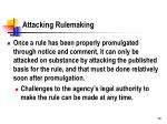 attacking rulemaking