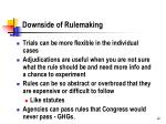 downside of rulemaking