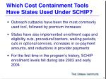 which cost containment tools have states used under schip