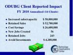 odubg client reported impact fy 2010 annualized 14 clients