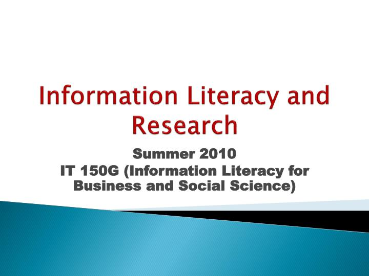information literacy and research n.