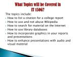 what topics will be covered in it 150g