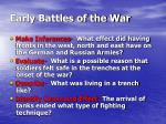 early battles of the war