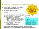 guidance to speakers in advance
