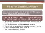 rules for election advocacy