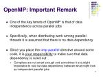 openmp important remark