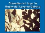 chromite rich layer in bushveldt layered gabbro