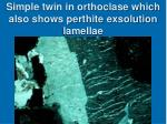 simple twin in orthoclase which also shows perthite exsolution lamellae