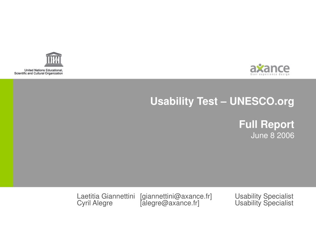 usability test unesco org full report june 8 2006 l.