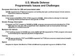 u s missile defense programmatic issues and challenges