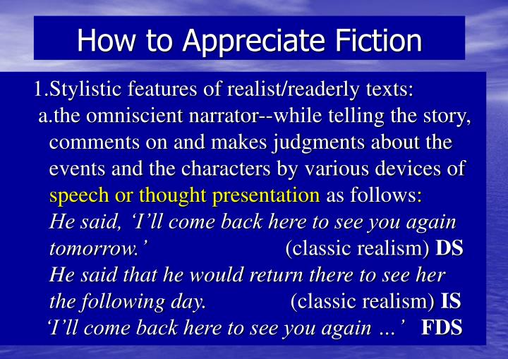 how to appreciate fiction n.