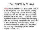 the testimony of luke1