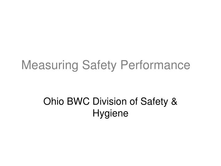 measuring safety performance n.
