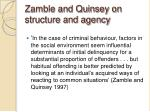 zamble and quinsey on structure and agency