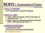 body grammatical points